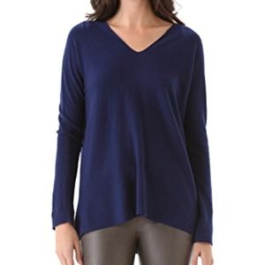 [Vince] Navy Long Sleeve Double V Neck Tee